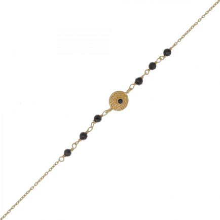 G- bracelet black agate bead with labyrinth coin gold pl.