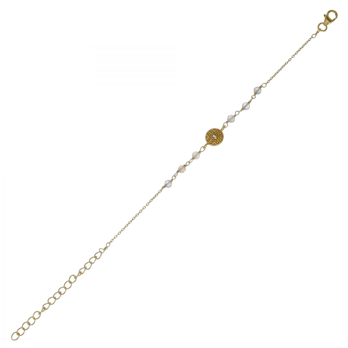 g bracelet labradorite beads with labyrinth coin gold pl