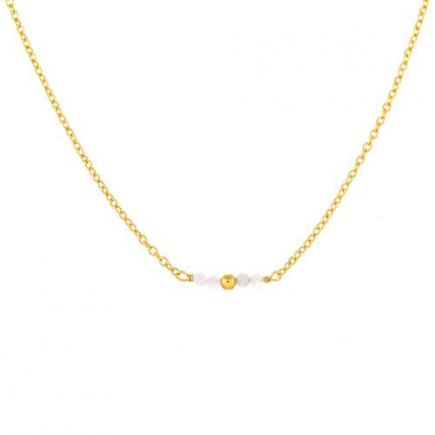 G-collier 4 little 2mm white moonst. gold plated