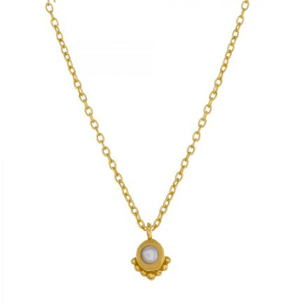G-collier etnic round pearl pendant 45cm gold plated