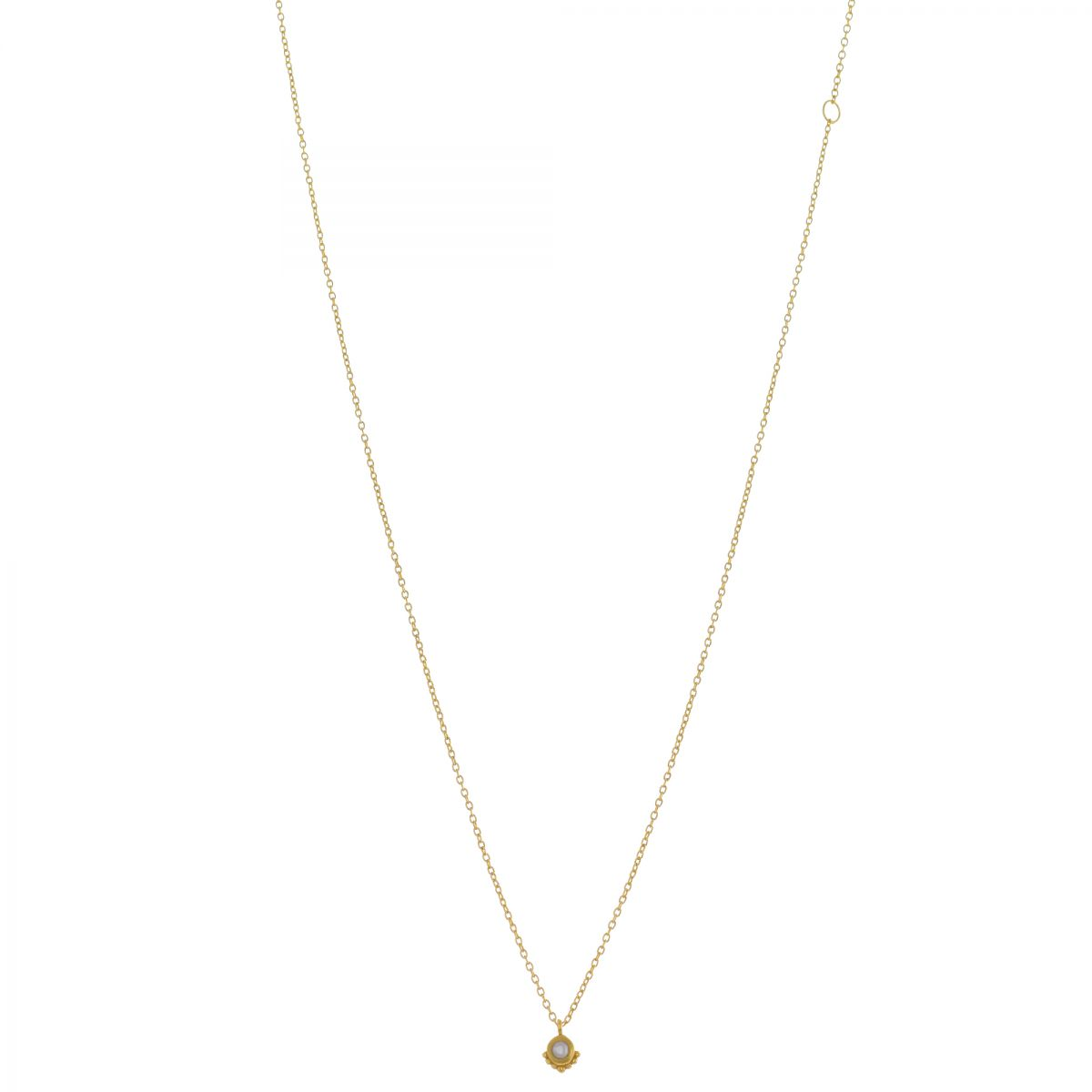 gcollier etnic round pearl pendant 45cm gold plated