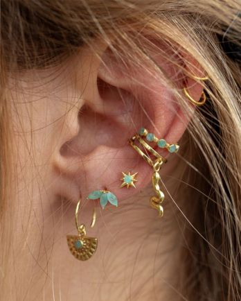 G- earring hanging amazonite half cirkel gold plated