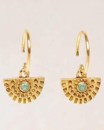 G- earring hanging nefrite half cirkel gold plated
