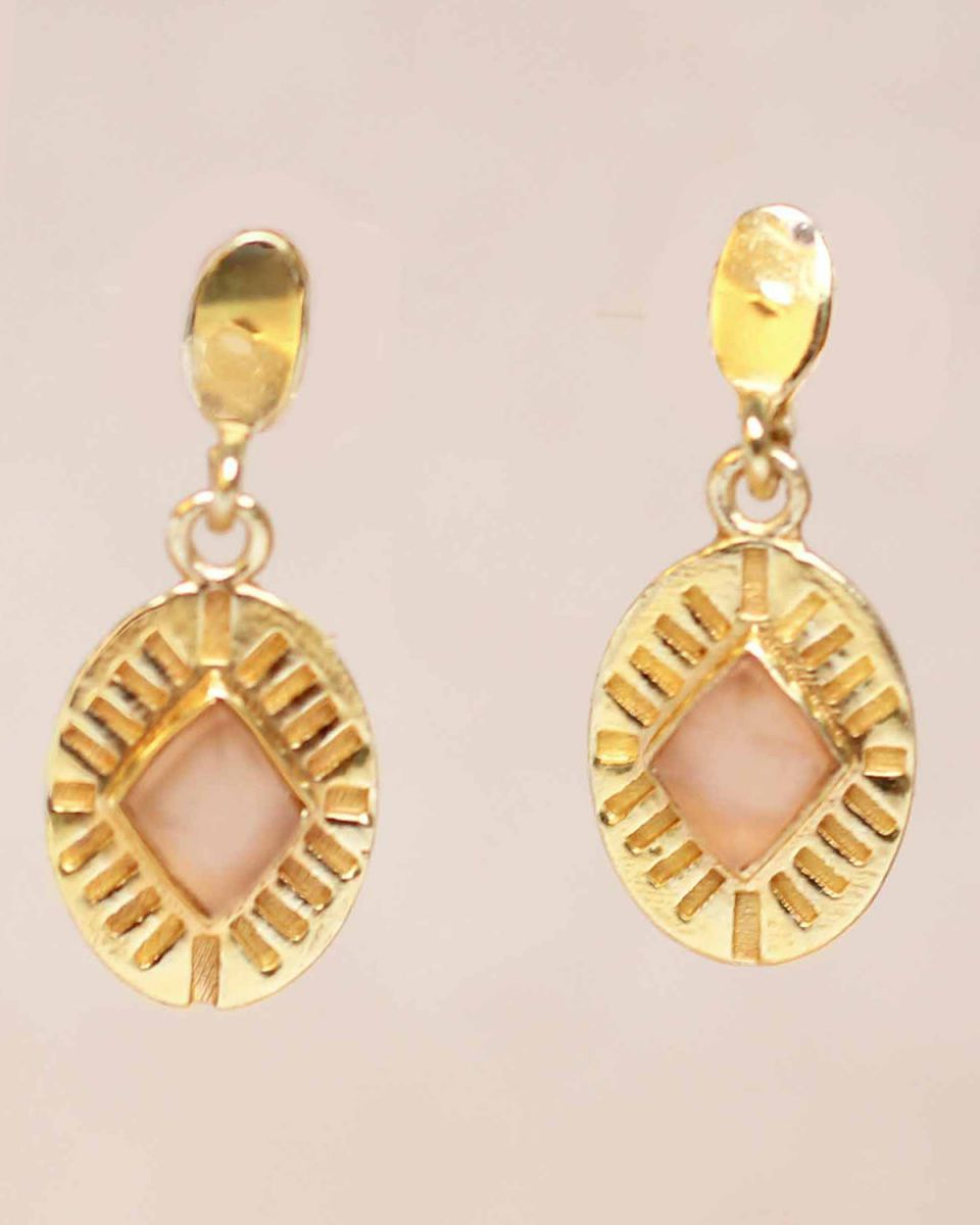 g earring peach moonstone diamond striped gold plated