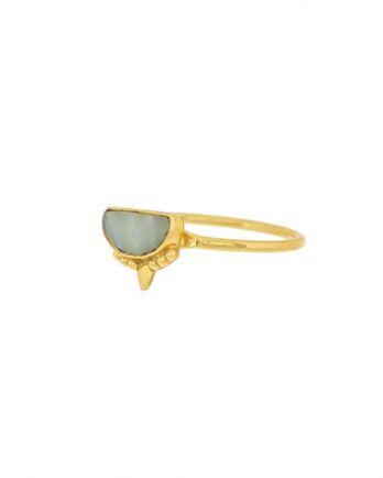 G- ring size 50 amazonite etnic moon gold plated