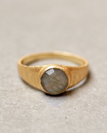G- ring size 52 8mm labradorite signet gold plated