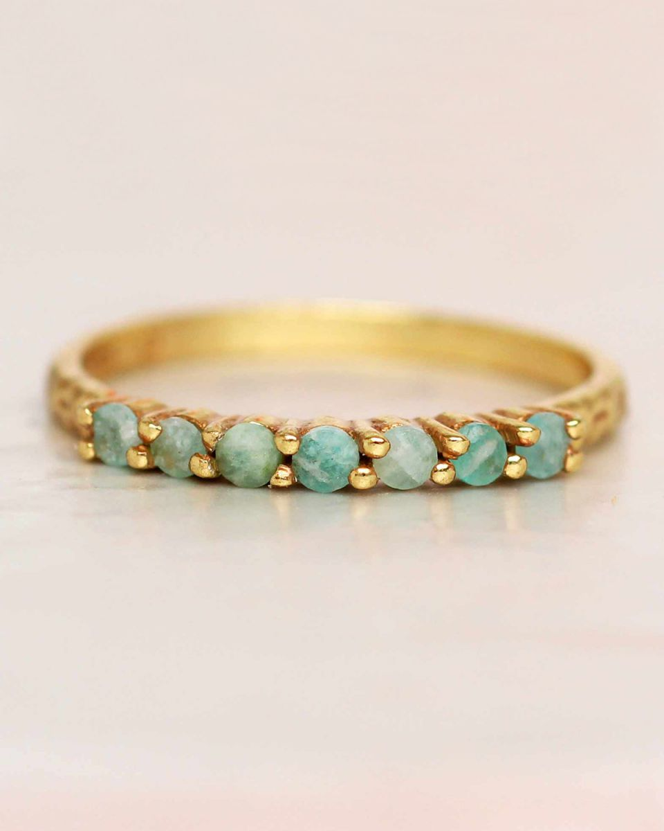 g ring size 52 amazonite 6 stones 2mm hammered gold plated