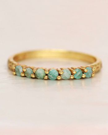 G- ring size 52 amazonite 6 stones 2mm hammered gold plated