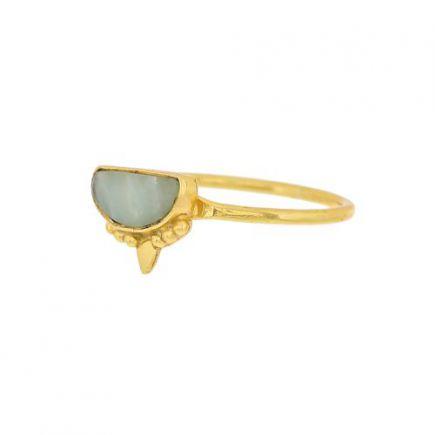 G- ring size 52 amazonite etnic moon gold plated