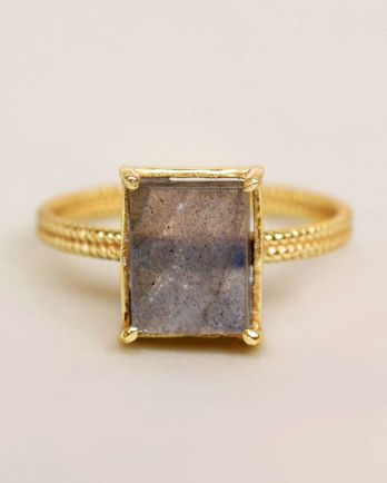 G- ring size 52 labradorite big square gold plated