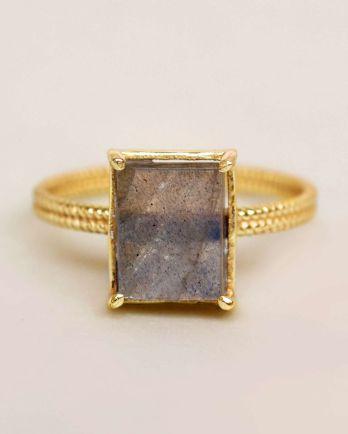 G- ring size 52 labradorite big square gold plated