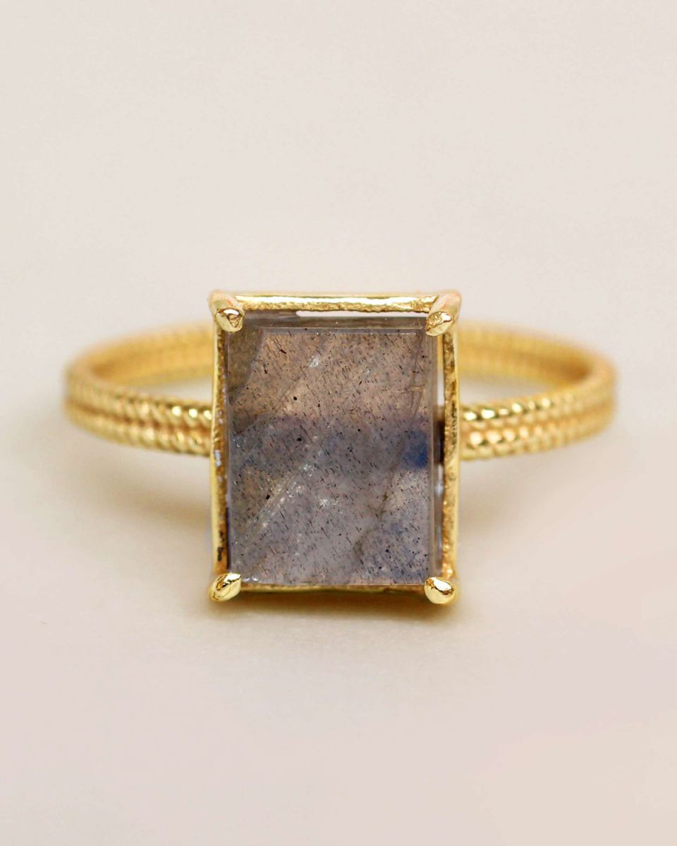 g ring size 52 labradorite big square gold plated
