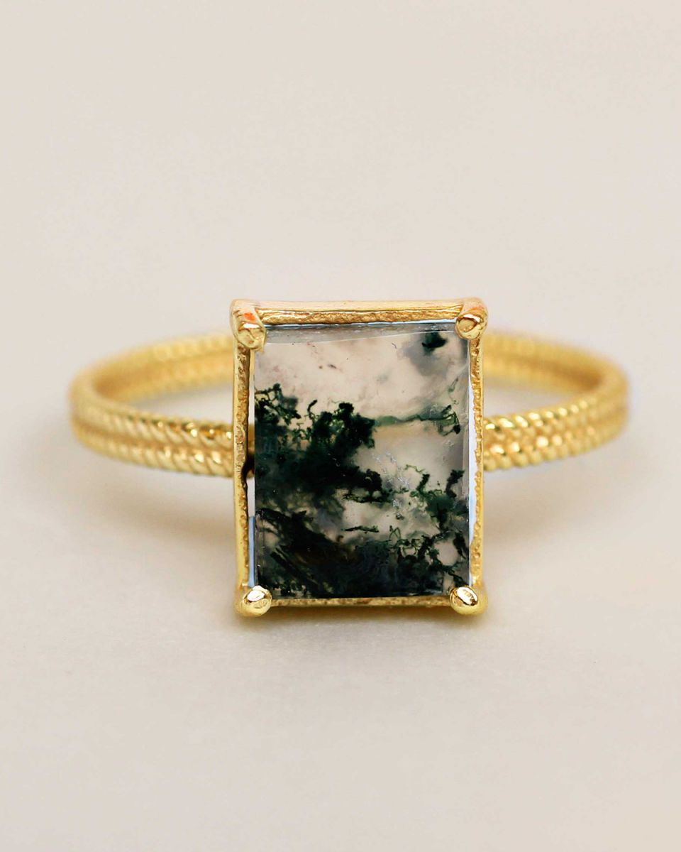 g ring size 52 mos agate big square gold plated