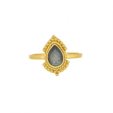 G- ring size 52 oval labradorite gold plated