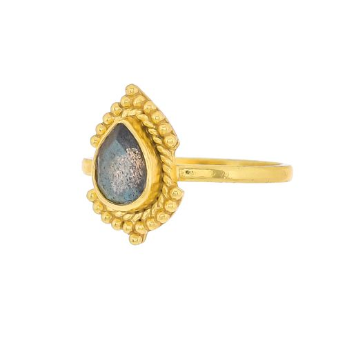 g ring size 52 oval labradorite gold plated