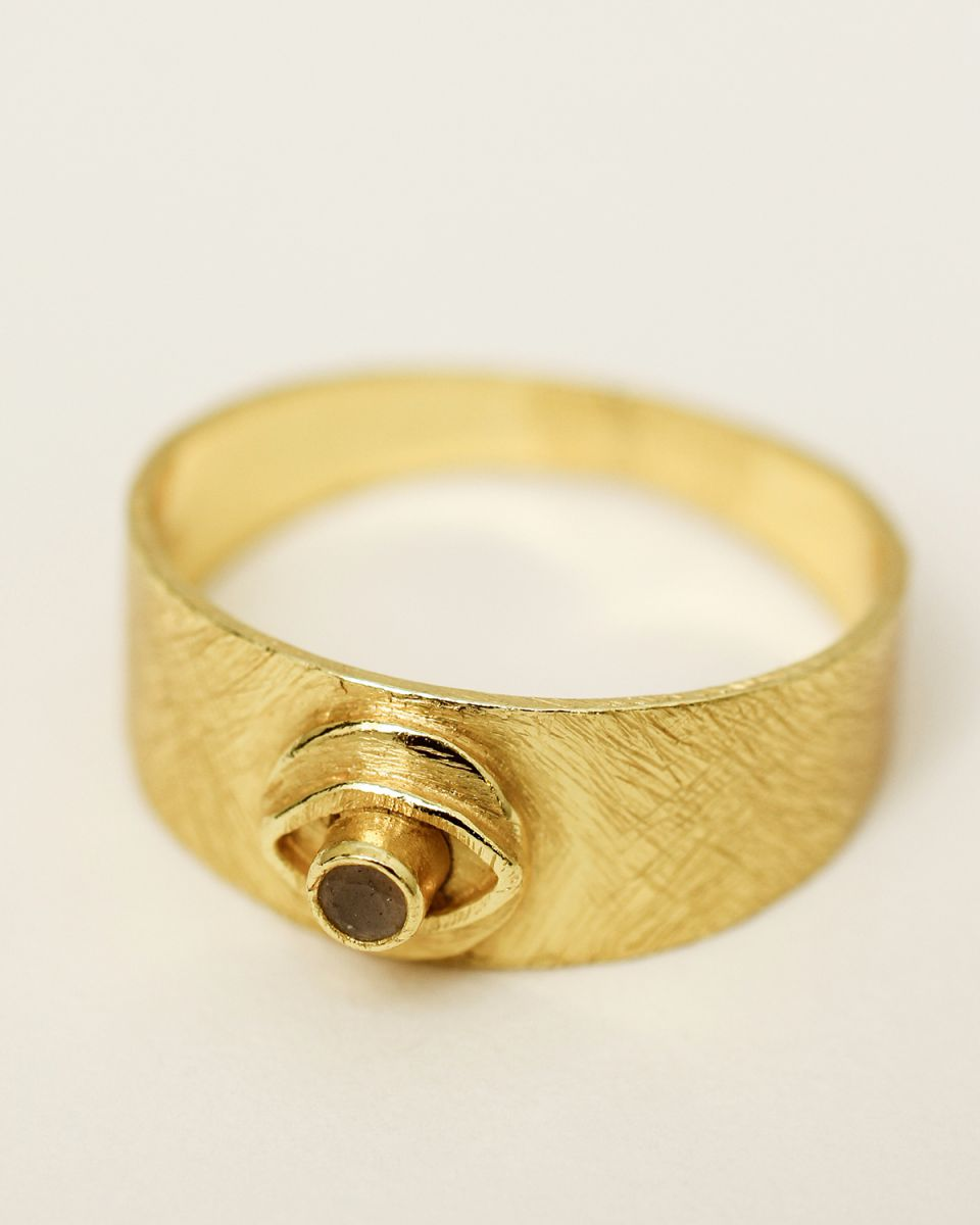 g ring size 52 signet coin eye peach moonstone gold plated