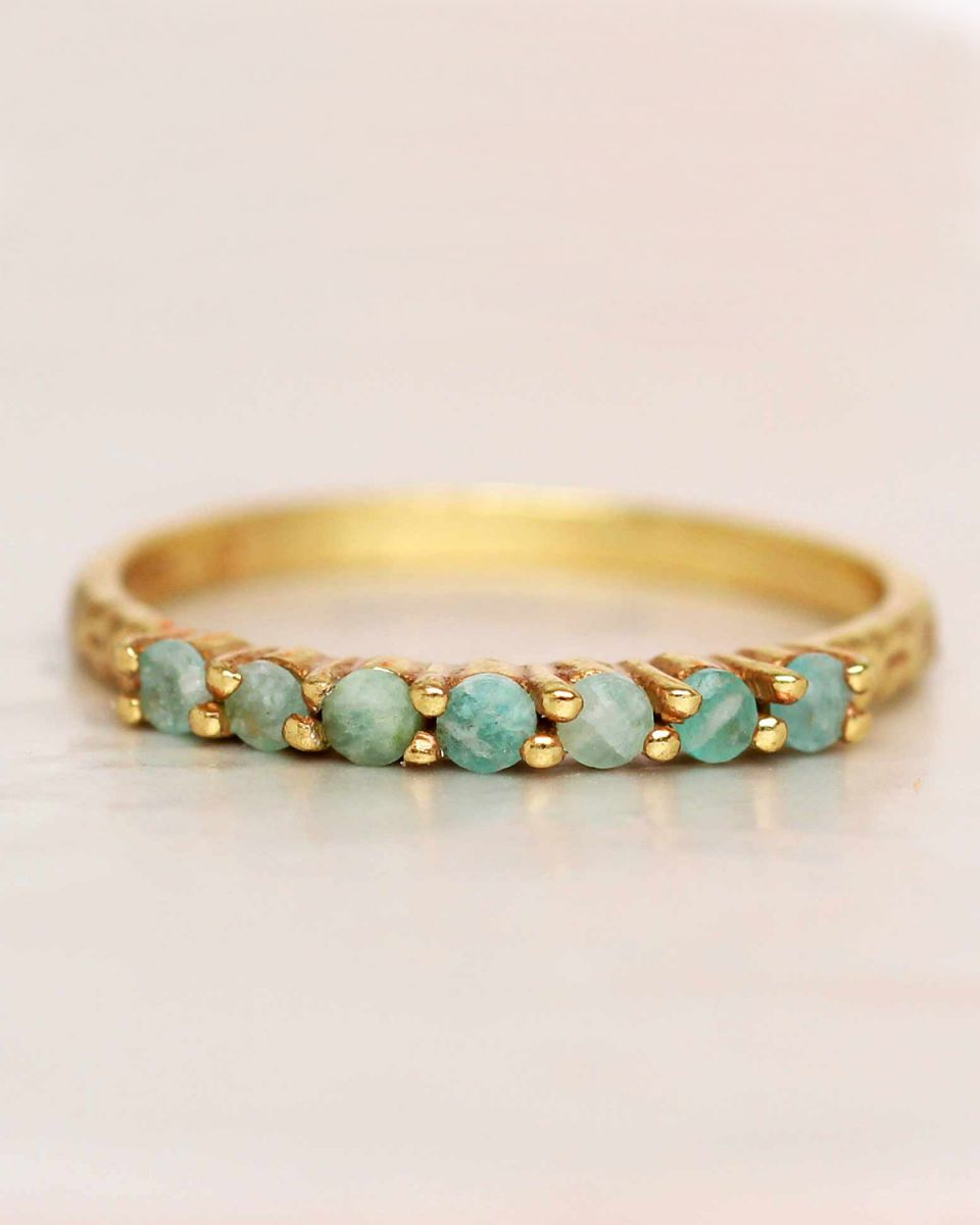 g ring size 54 amazonite 6 stones 2mm hammered gold plated