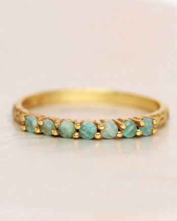 G- ring size 54 amazonite 6 stones 2mm hammered gold plated