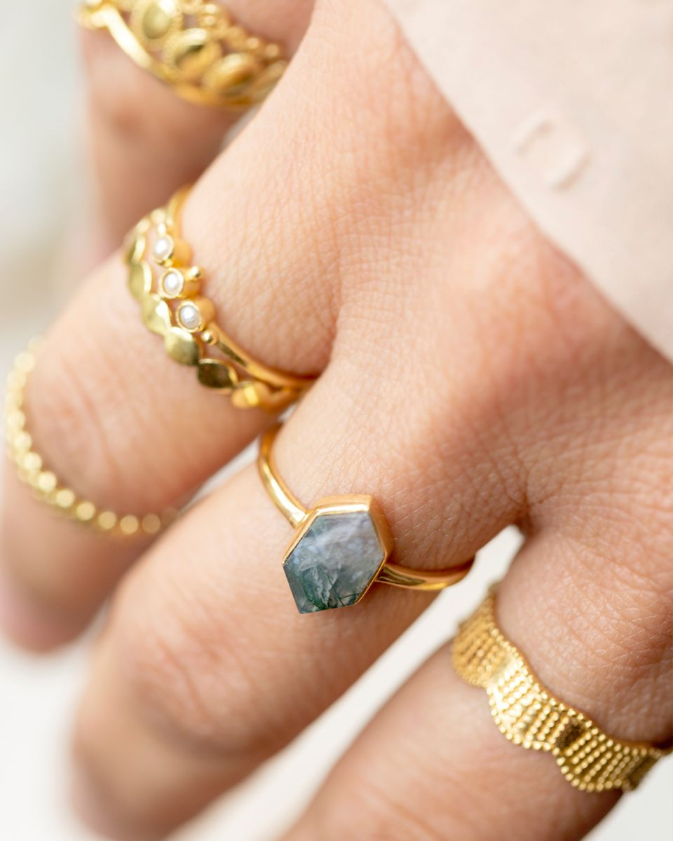 g ring size 54 fancy diamant labradorite gold plated