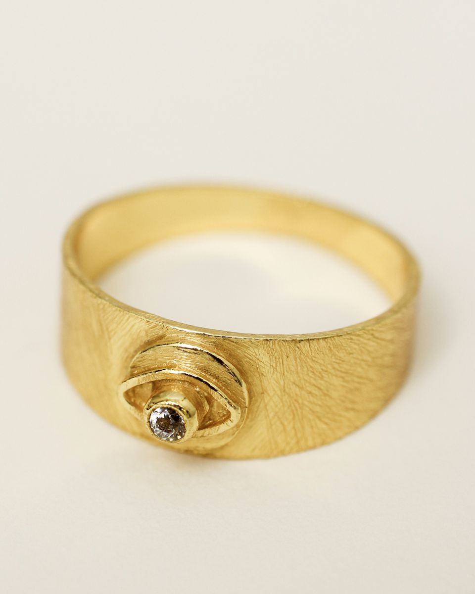 g ring size 54 signet coin eye white zirkonia gold plated