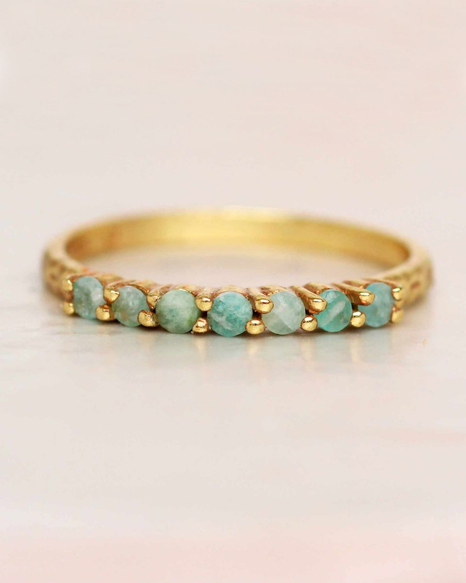 g ring size 56 amazonite 6 stones 2mm hammered gold plated