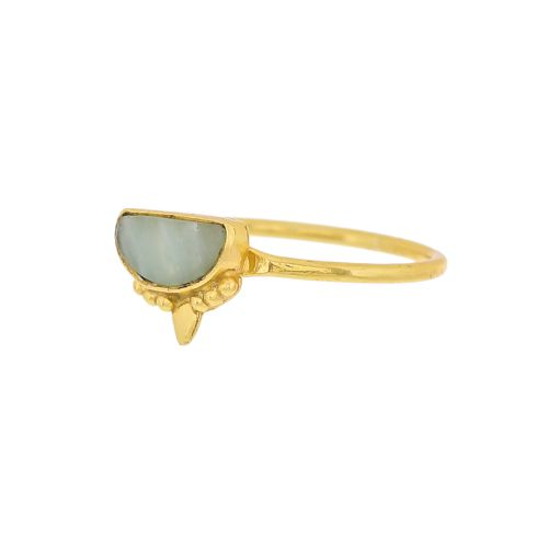 g ring size 56 amazonite etnic moon gold plated