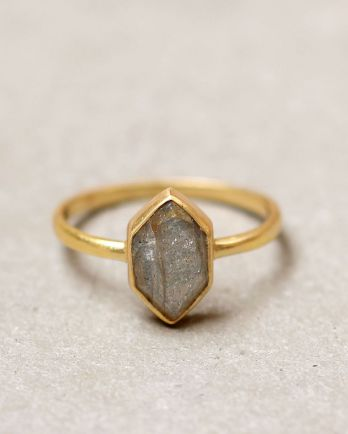 G- ring size 56 fancy diamant labradorite gold plated