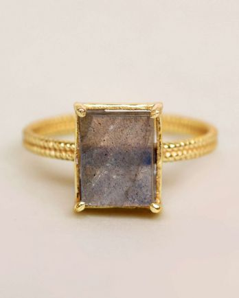 G- ring size 56 labradorite big square gold plated