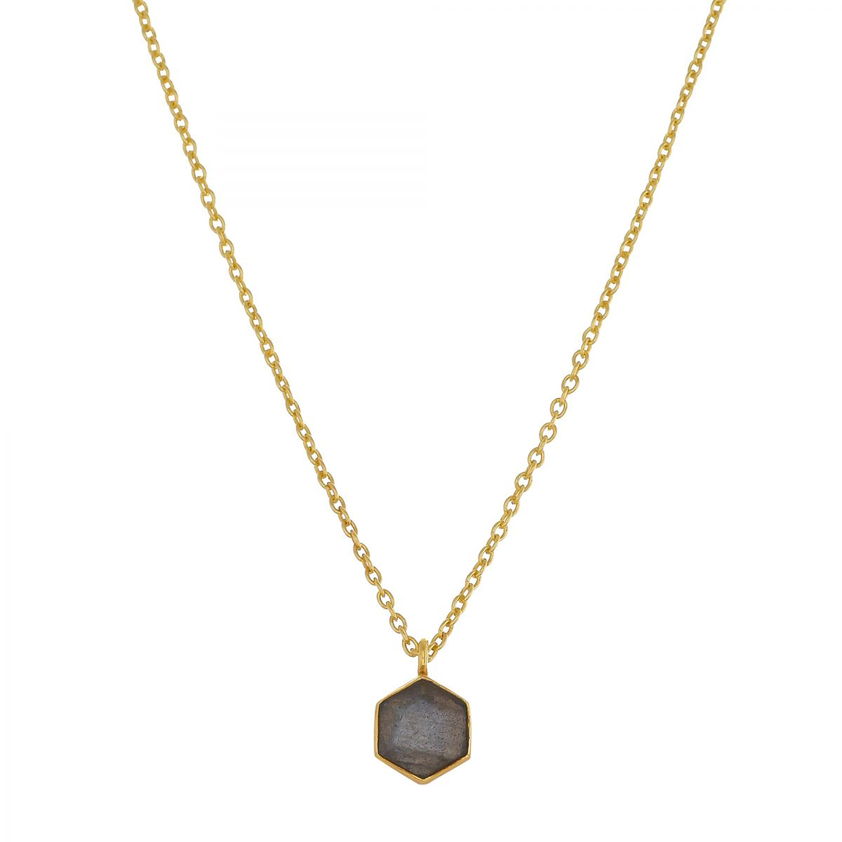 hcollier 6mm labradorite hexagon gold plated