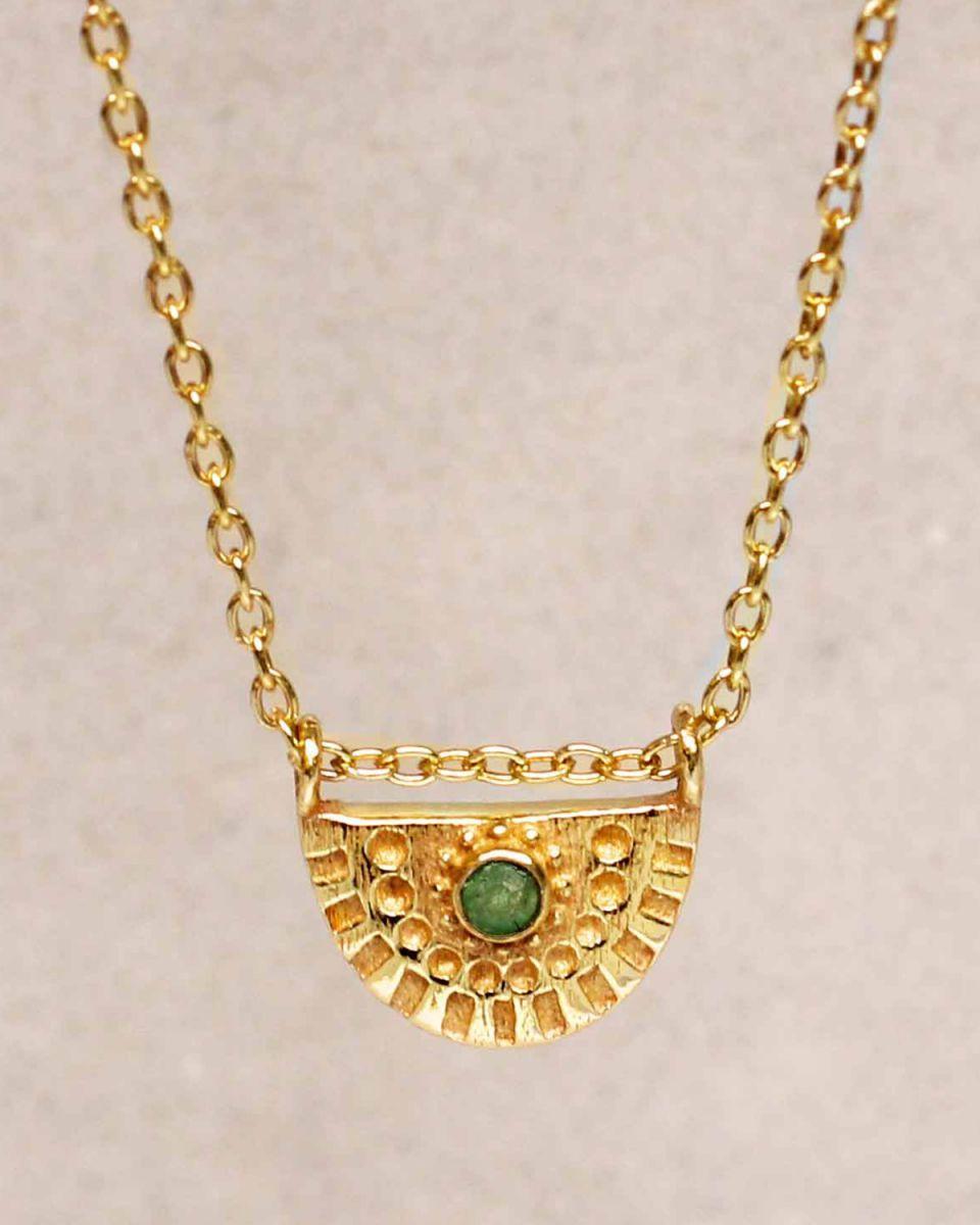 hcollier nefrite half cirkel gold plated 55cm