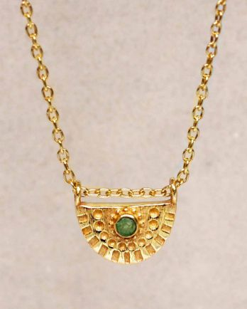H-collier nefrite half cirkel gold plated - 55cm