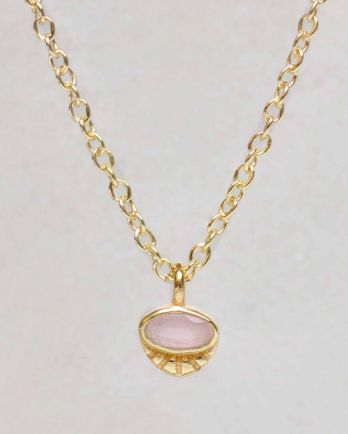 H-collier peach moonst. horizontal oval striped g. p. - 55cm