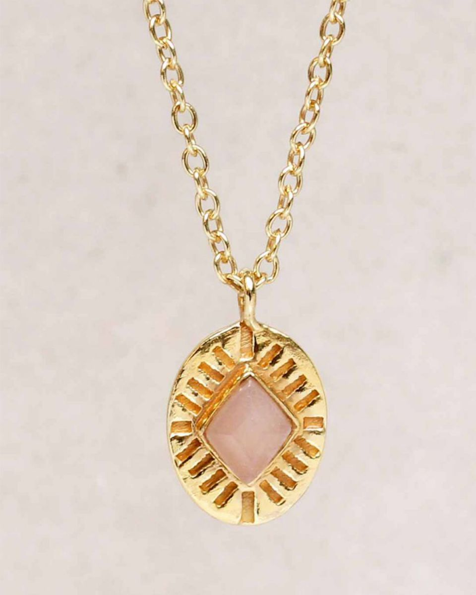 hcollier peach moonstone diamond striped g pl 55cm