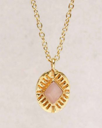 H-collier peach moonstone diamond striped g. pl. - 55cm
