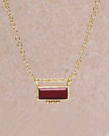 H-collier red jasper rectangle three dots 3x8 g. pl. -  45cm