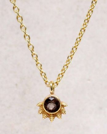 H-collier smokey quartz dot with crown gold plated - 55cm