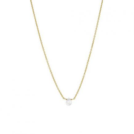 H-collier white moonstone drop and 2mm pearl gold plated