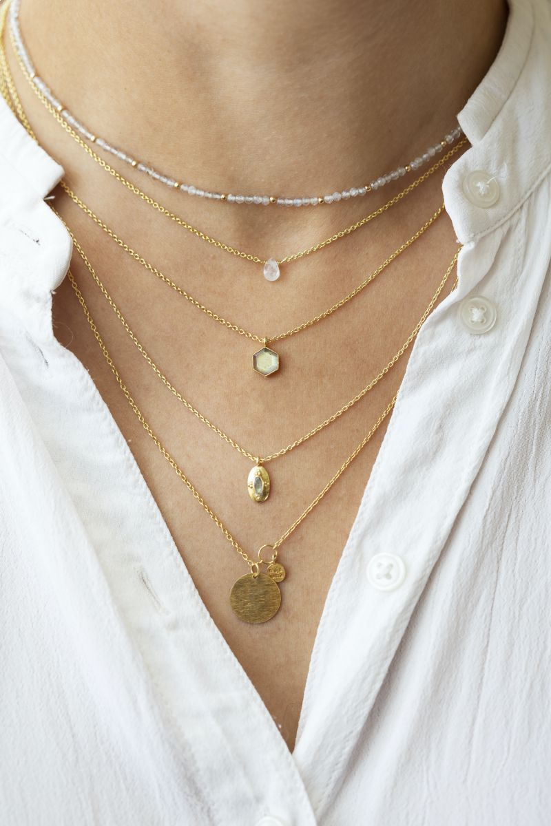 hcollier white moonstone drop and 2mm pearl gold plated