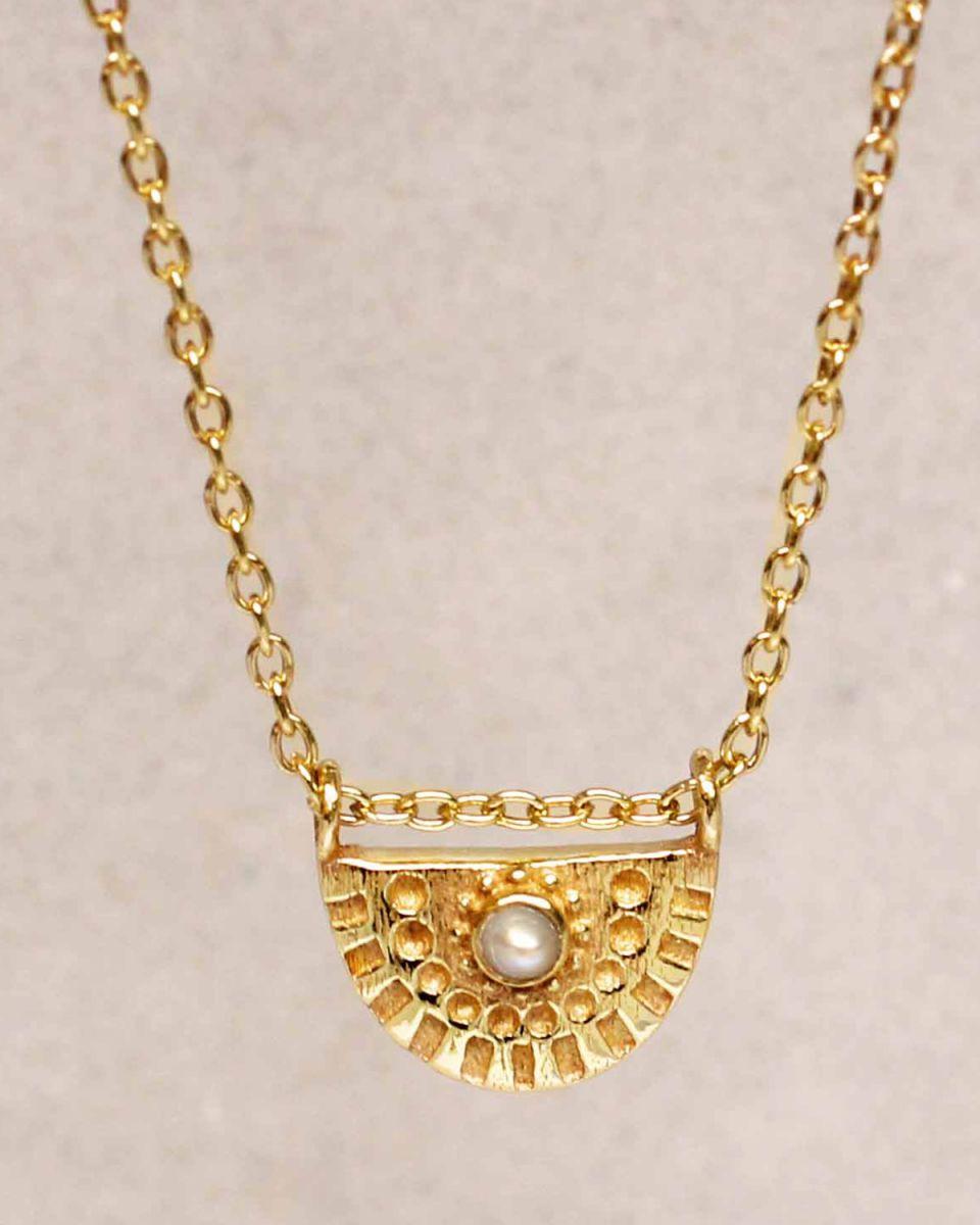 hcollier white pearl half cirkel gold plated 55cm