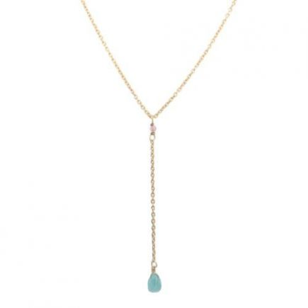 H-collier ypsilon amazonite drop and 2mm peach m. st. g. pl.