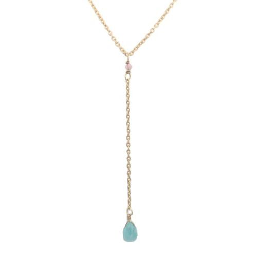 hcollier ypsilon amazonite drop and 2mm peach m st g pl