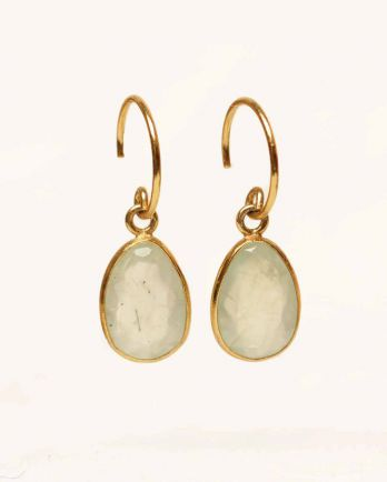 H- earring medium drop prenite gold plated
