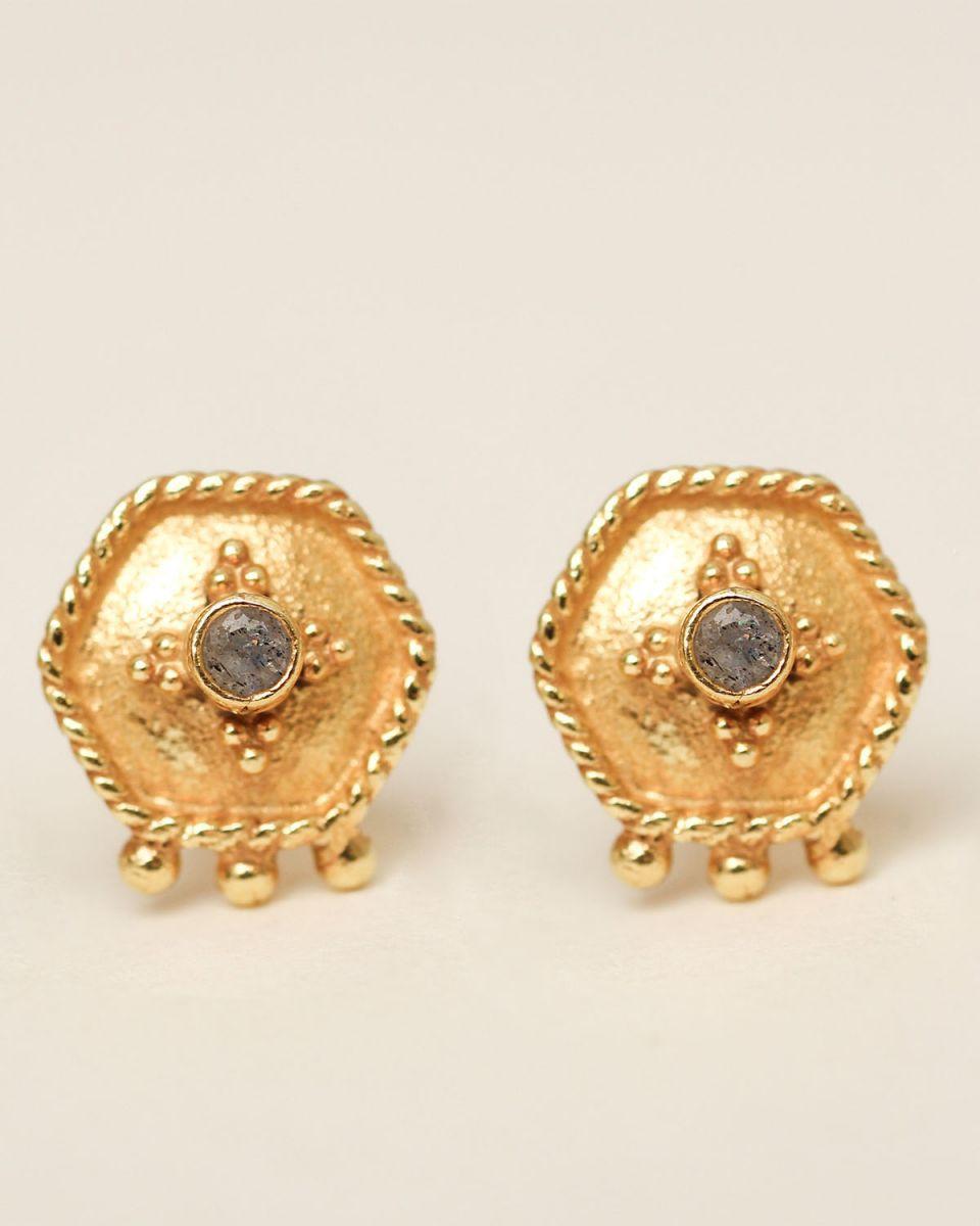 h earring stud etnic hexagon labradorite gold plated