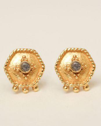 H- earring stud etnic hexagon labradorite gold plated