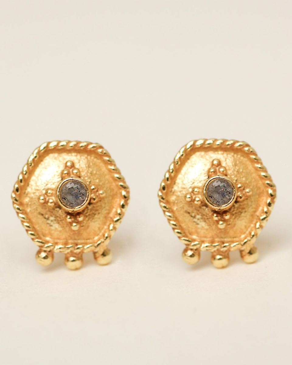 h earring stud etnic hexagon labradorite gold plated