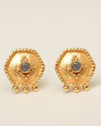 H- earring stud etnic hexagon labradorite gold plated