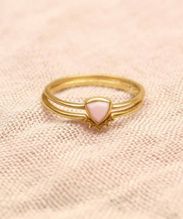 H- ring size 50 triangle pink opal set of 2 gold plated