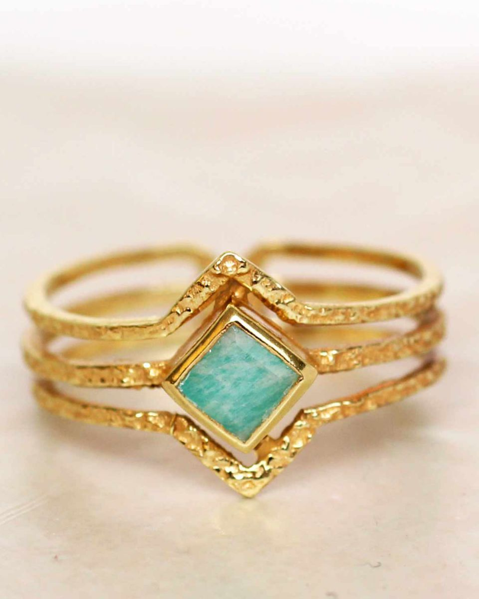 h ring size 52 amazonite diamond three bands gold plated