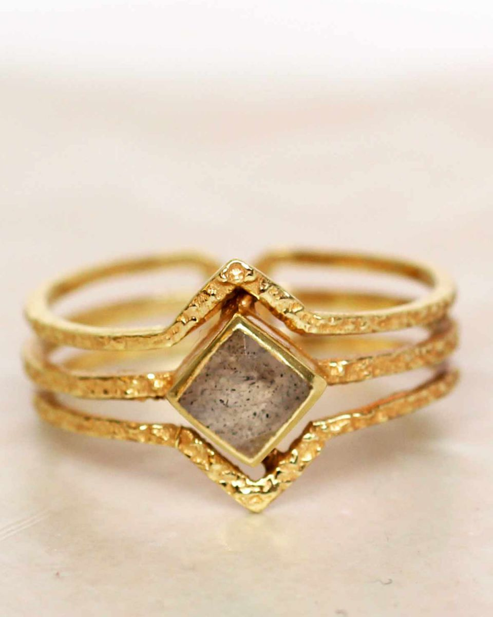 h ring size 52 labradorite diamond three bands gold plated