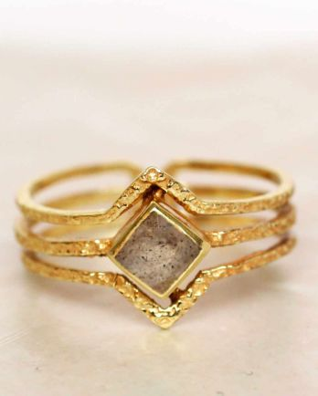 H- ring size 52 labradorite diamond three bands gold plated